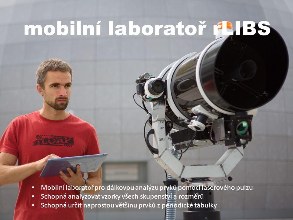 mobilní laboratoř rLIBS Mobilní laboratoř pro dálkovou analýzu prvků pomocí laserového pulzu Schopná analyzovat vzorky všech skupenství a rozměrů Schopná určit naprostou většinu prvků z periodické tabulky