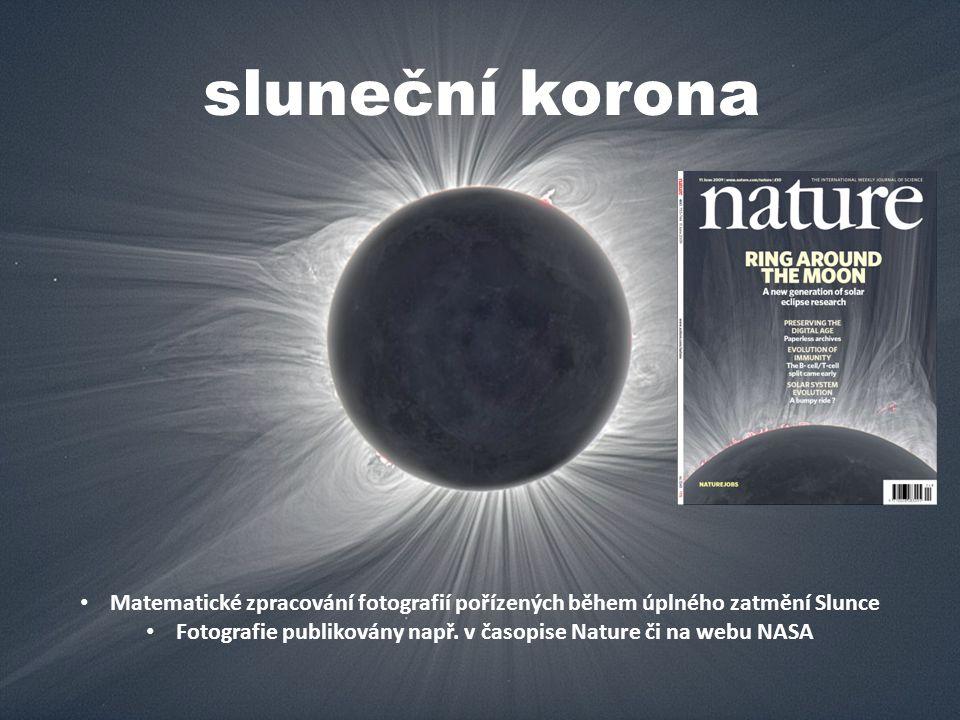 Matematické zpracování fotografií pořízených během úplného zatmění Slunce Fotografie publikovány např.