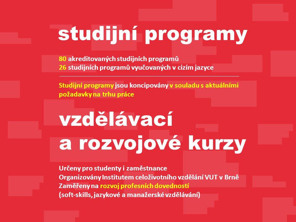 80 akreditovaných studijních programů 26 studijních programů vyučovaných v cizím jazyce Studijní programy jsou koncipovány v souladu s aktuálními požadavky na trhu práce vzdělávací a rozvojové kurzy Určeny pro studenty i zaměstnance Organizovány Institutem celoživotního vzdělání VUT v Brně Zaměřeny na rozvoj profesních dovedností (soft-skills, jazykové a manažerské vzdělávání) studijní programy