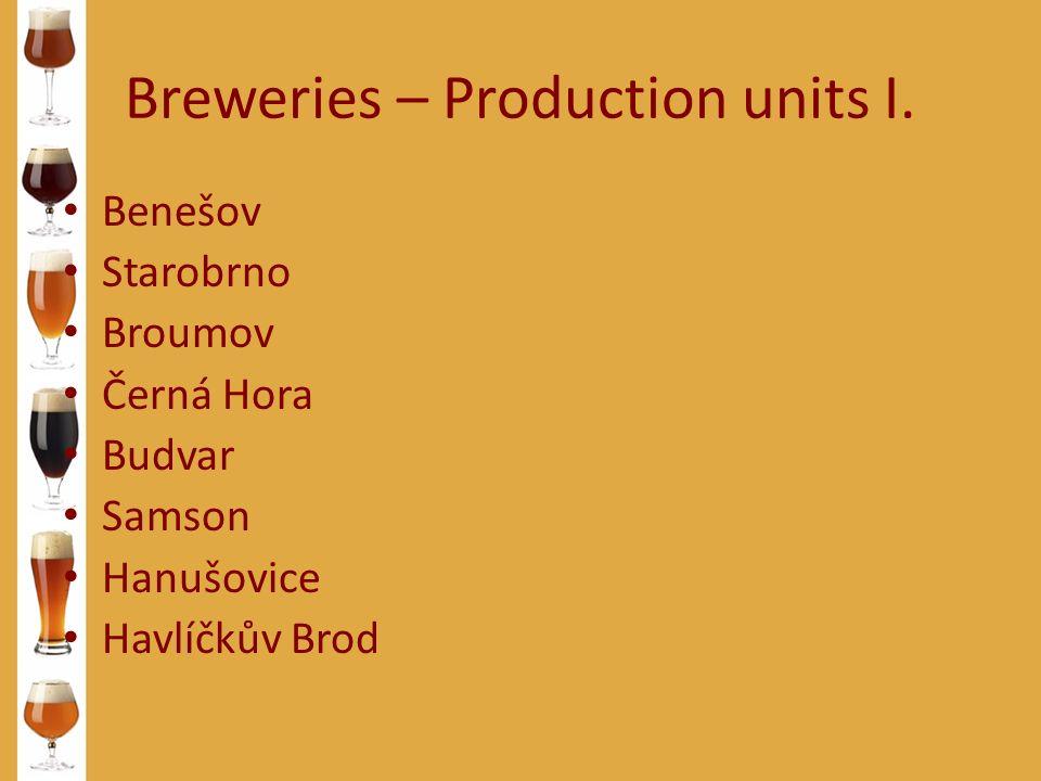 Breweries – Production units I. Benešov Starobrno Broumov Černá Hora Budvar Samson Hanušovice Havlíčkův Brod