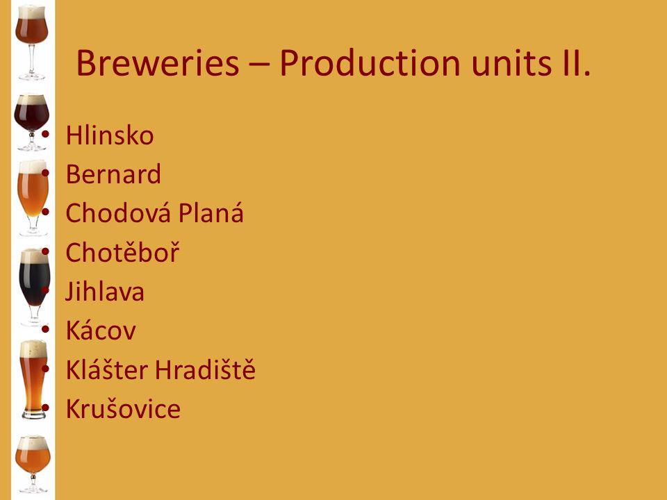 Breweries – Production units II. Hlinsko Bernard Chodová Planá Chotěboř Jihlava Kácov Klášter Hradiště Krušovice