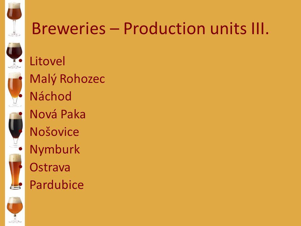 Breweries – Production units III. Litovel Malý Rohozec Náchod Nová Paka Nošovice Nymburk Ostrava Pardubice