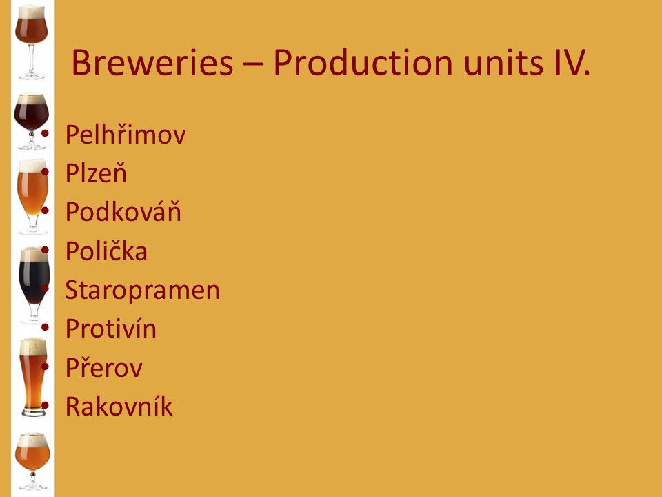 Breweries – Production units IV. Pelhřimov Plzeň Podkováň Polička Staropramen Protivín Přerov Rakovník
