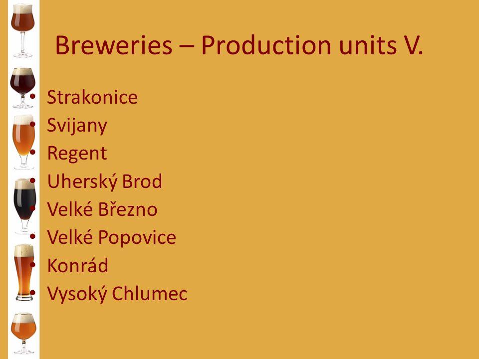 Breweries – Production units V. Strakonice Svijany Regent Uherský Brod Velké Březno Velké Popovice Konrád Vysoký Chlumec