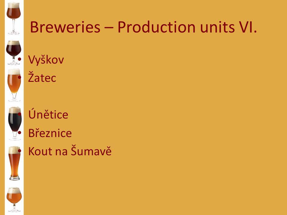 Breweries – Production units VI. Vyškov Žatec Únětice Březnice Kout na Šumavě