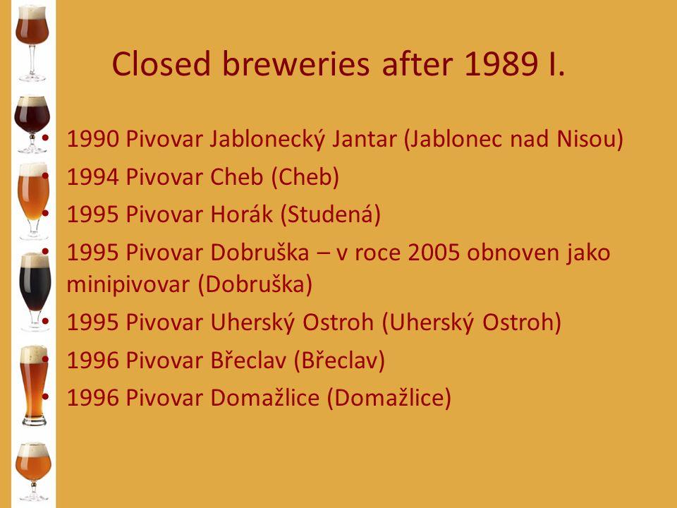Closed breweries after 1989 I. 1990 Pivovar Jablonecký Jantar (Jablonec nad Nisou) 1994 Pivovar Cheb (Cheb) 1995 Pivovar Horák (Studená) 1995 Pivovar