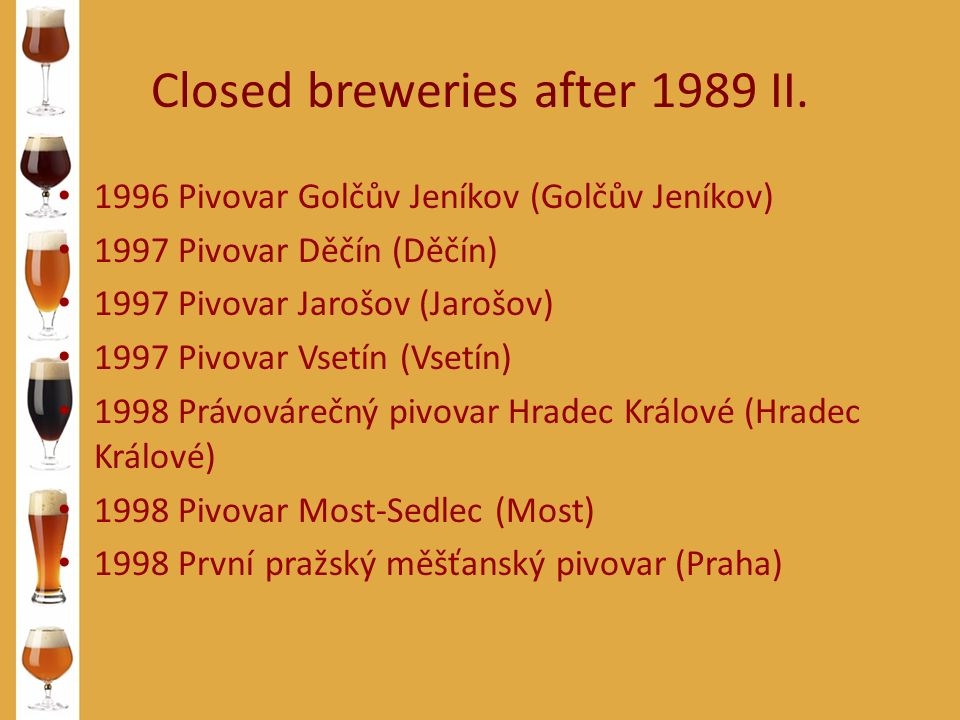 Closed breweries after 1989 II. 1996 Pivovar Golčův Jeníkov (Golčův Jeníkov) 1997 Pivovar Děčín (Děčín) 1997 Pivovar Jarošov (Jarošov) 1997 Pivovar Vs