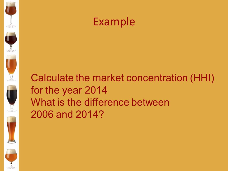 Example Calculate the market concentration (HHI) for the year 2014 What is the difference between 2006 and 2014?