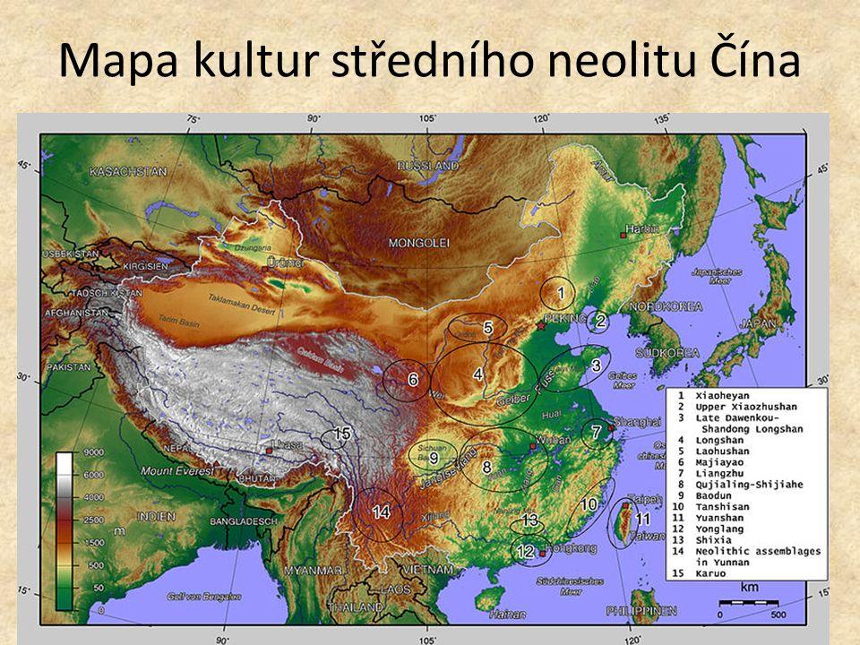 Mapa kultur středního neolitu Čína