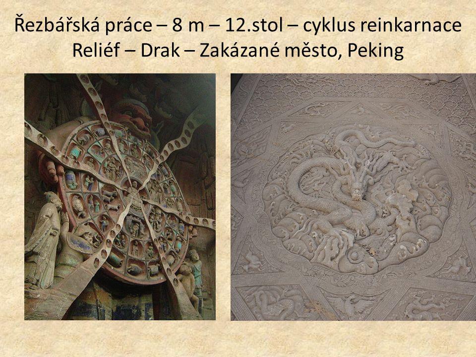 Řezbářská práce – 8 m – 12.stol – cyklus reinkarnace Reliéf – Drak – Zakázané město, Peking