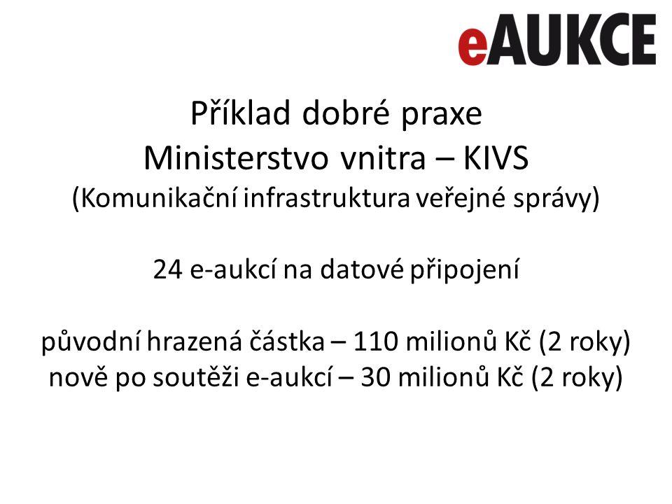 Příklad dobré praxe Ministerstvo vnitra – KIVS (Komunikační infrastruktura veřejné správy) 24 e-aukcí na datové připojení původní hrazená částka – 110