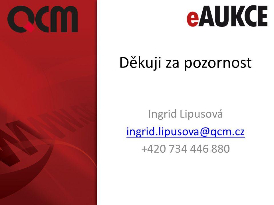 Děkuji za pozornost Ingrid Lipusová ingrid.lipusova@qcm.cz +420 734 446 880
