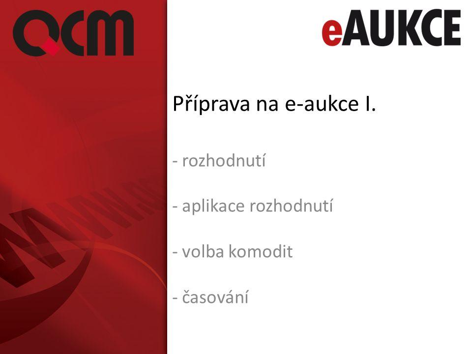 Příprava na e-aukce I. - rozhodnutí - aplikace rozhodnutí - volba komodit - časování