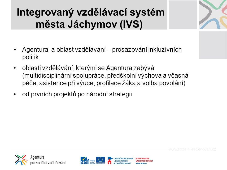 Integrovaný vzdělávací systém města Jáchymov (IVS) Vybrané teze z Národní strategie – vytváření podpůrných systémů versus změna vzdělávacího sytému Priorita 1: Změna financování mateřských základních a středních škol Priorita 2: Posílení dostupnosti, kvality a využívání předškolní péče Priorita 3: Posílení otevřenosti a kvality základního vzdělávání Priorita 4: Posílení kvality profesní přípravy a podpora středního školství - budeme o tom mluvit zvlášť – téma: mladý člověk na rozcestí Priorita 5: Transformace péče o ohrožené děti Priorita 6: Transformace a posílení kvality poradenského systému Priorita 7: Posílení metodické připravenosti budoucích i stávajících pedagogických pracovníků Priorita 8: Posílení kvality a navýšení grantové podpory opatření v oblasti vzdělávání sociálně vyloučených dětí