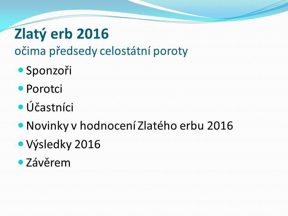 Zlatý erb 2016 očima předsedy celostátní poroty Sponzoři Porotci Účastníci Novinky v hodnocení Zlatého erbu 2016 Výsledky 2016 Závěrem