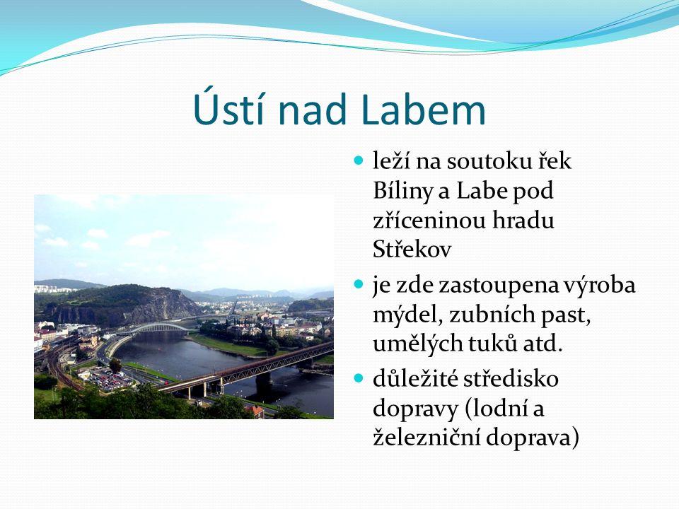Ústí nad Labem leží na soutoku řek Bíliny a Labe pod zříceninou hradu Střekov je zde zastoupena výroba mýdel, zubních past, umělých tuků atd.