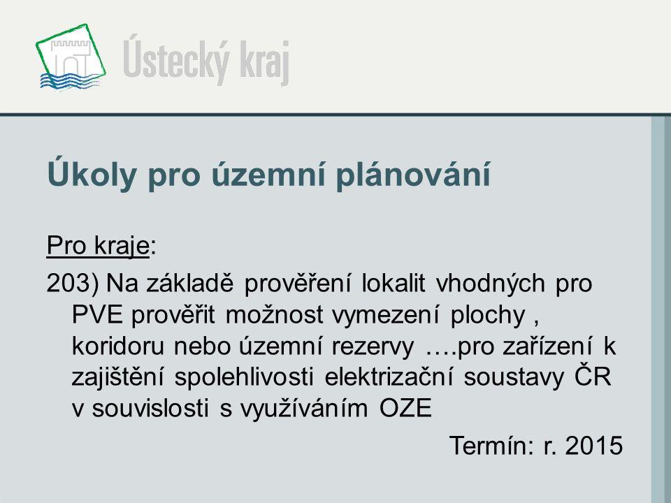 Úkoly pro územní plánování Pro kraje: 203) Na základě prověření lokalit vhodných pro PVE prověřit možnost vymezení plochy, koridoru nebo územní rezervy ….pro zařízení k zajištění spolehlivosti elektrizační soustavy ČR v souvislosti s využíváním OZE Termín: r.