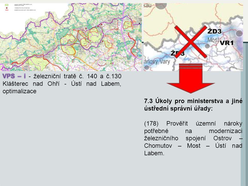 7.3 Úkoly pro ministerstva a jiné ústřední správní úřady: (178) Prověřit územní nároky potřebné na modernizaci železničního spojení Ostrov – Chomutov – Most – Ústí nad Labem.