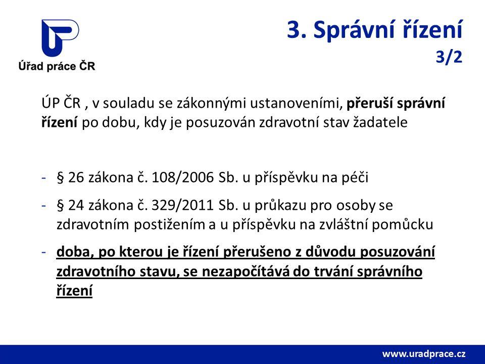 3. Správní řízení 3/2 ÚP ČR, v souladu se zákonnými ustanoveními, přeruší správní řízení po dobu, kdy je posuzován zdravotní stav žadatele -§ 26 zákon