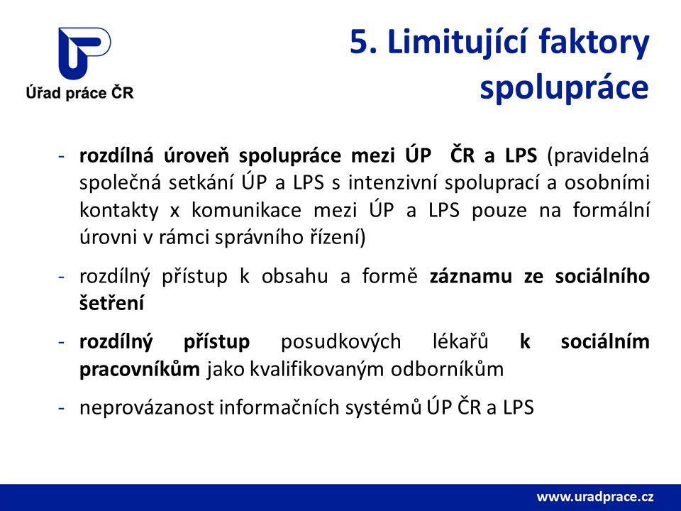 5. Limitující faktory spolupráce -rozdílná úroveň spolupráce mezi ÚP ČR a LPS (pravidelná společná setkání ÚP a LPS s intenzivní spoluprací a osobními
