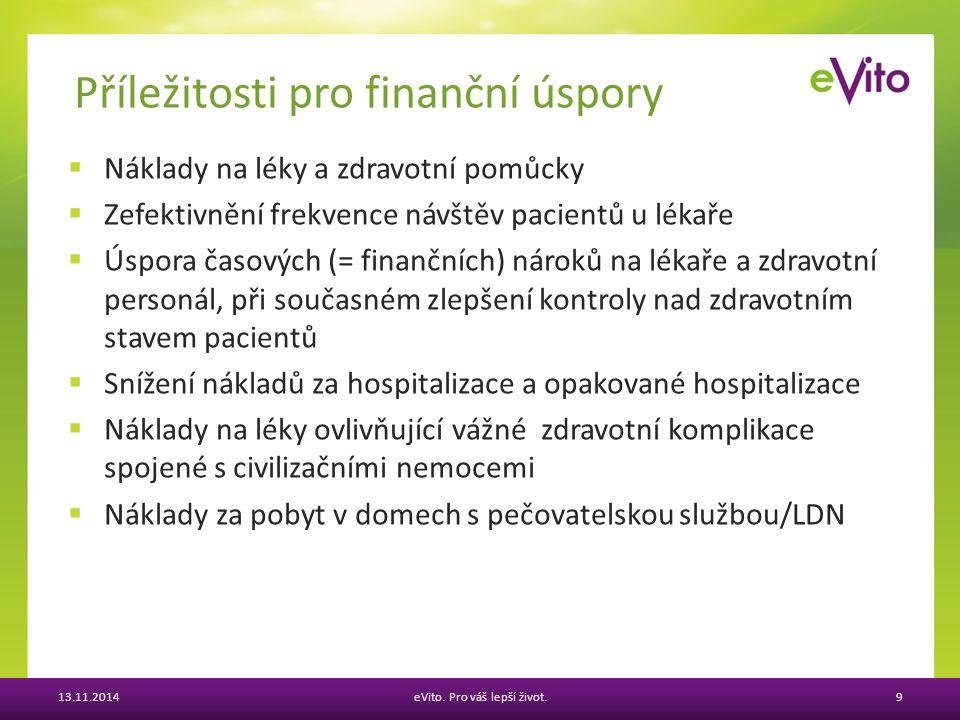  Náklady na léky a zdravotní pomůcky  Zefektivnění frekvence návštěv pacientů u lékaře  Úspora časových (= finančních) nároků na lékaře a zdravotní