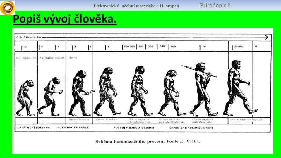 Elektronické učební materiály – II. stupeň Přírodopis 8 Popiš vývoj člověka.