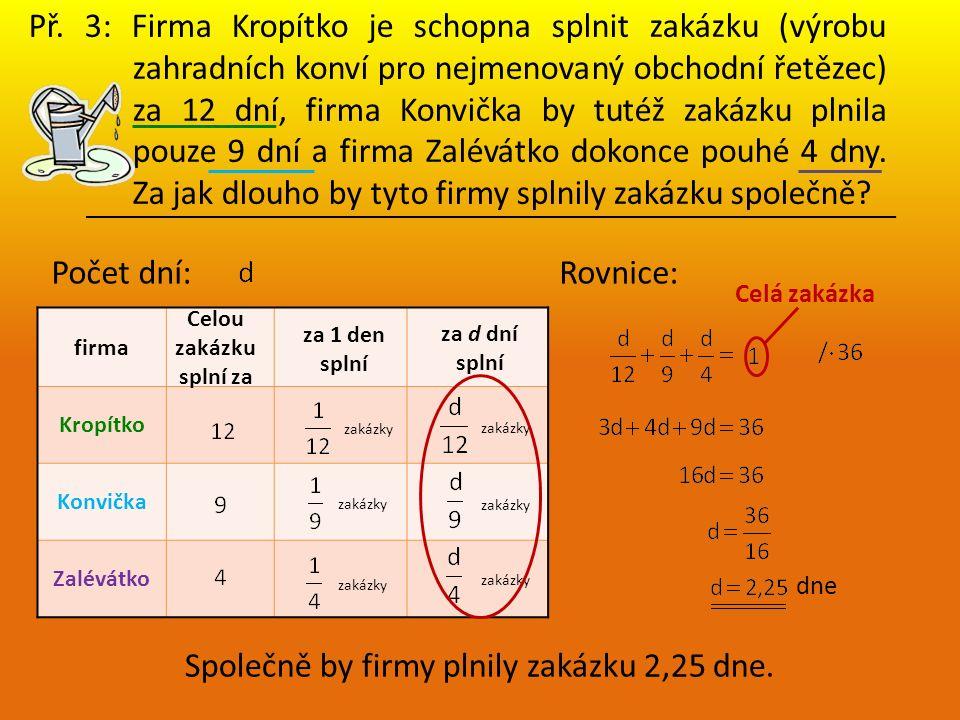 Př. 3: Firma Kropítko je schopna splnit zakázku (výrobu zahradních konví pro nejmenovaný obchodní řetězec) za 12 dní, firma Konvička by tutéž zakázku