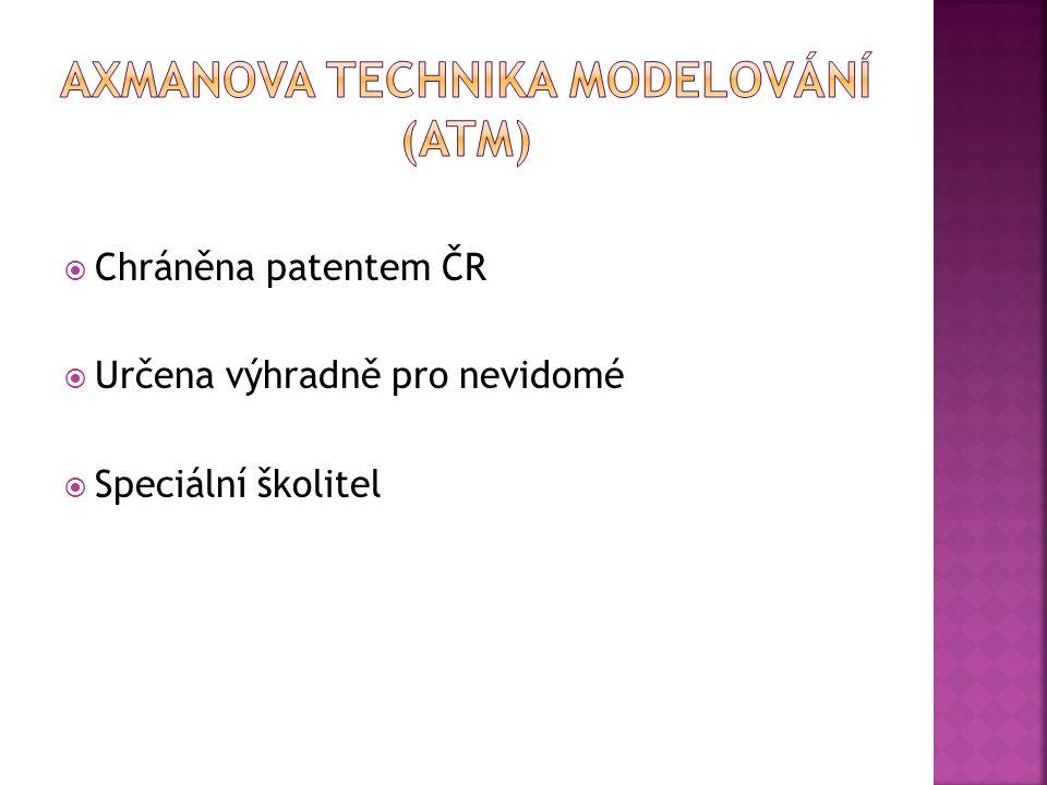  Chráněna patentem ČR  Určena výhradně pro nevidomé  Speciální školitel