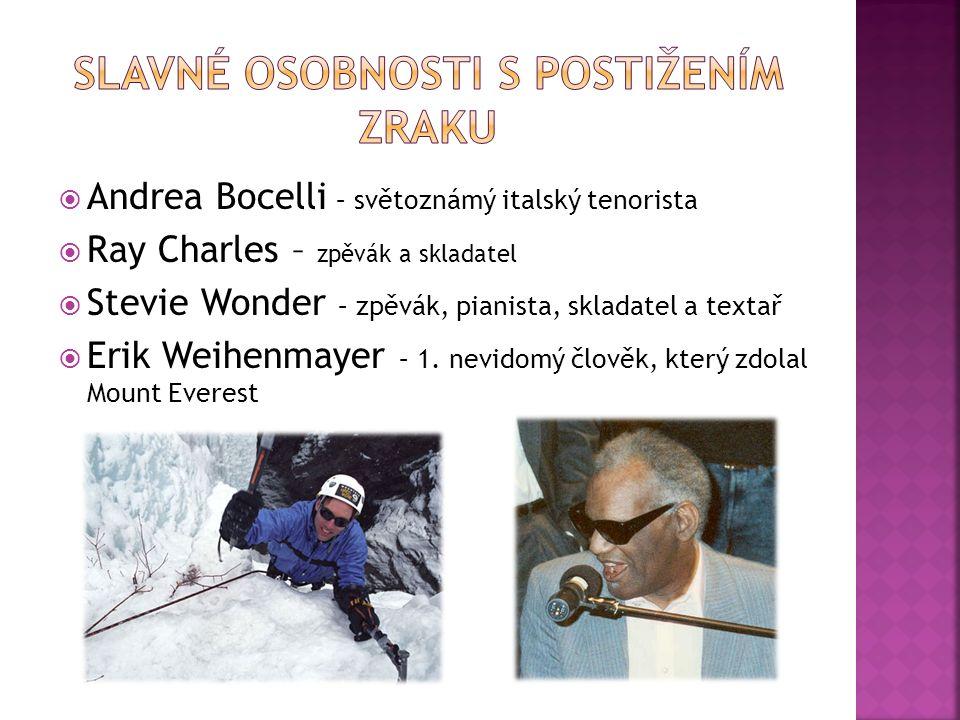  Andrea Bocelli – světoznámý italský tenorista  Ray Charles – zpěvák a skladatel  Stevie Wonder – zpěvák, pianista, skladatel a textař  Erik Weihenmayer – 1.