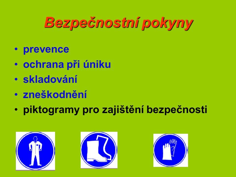 Bezpečnostní pokyny prevence ochrana při úniku skladování zneškodnění piktogramy pro zajištění bezpečnosti
