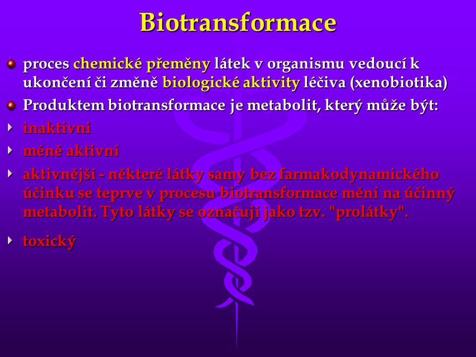 Biotransformace proces chemické přeměny látek v organismu vedoucí k ukončení či změně biologické aktivity léčiva (xenobiotika) Produktem biotransformace je metabolit, který může být: inaktivní méně aktivní aktivnější - některé látky samy bez farmakodynamického účinku se teprve v procesu biotransformace mění na účinný metabolit.