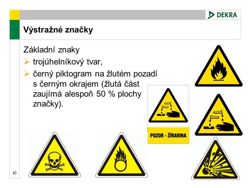 Výstražné značky 23 Základní znaky  trojúhelníkový tvar,  černý piktogram na žlutém pozadí s černým okrajem (žlutá část zaujímá alespoň 50 % plochy značky).
