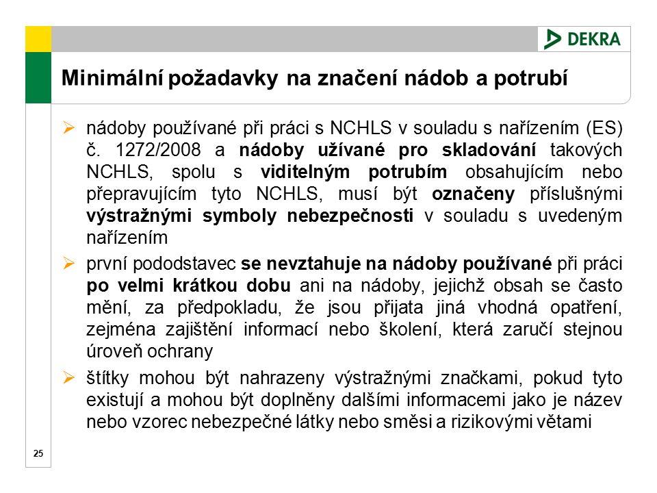 Minimální požadavky na značení nádob a potrubí 25  nádoby používané při práci s NCHLS v souladu s nařízením (ES) č. 1272/2008 a nádoby užívané pro sk