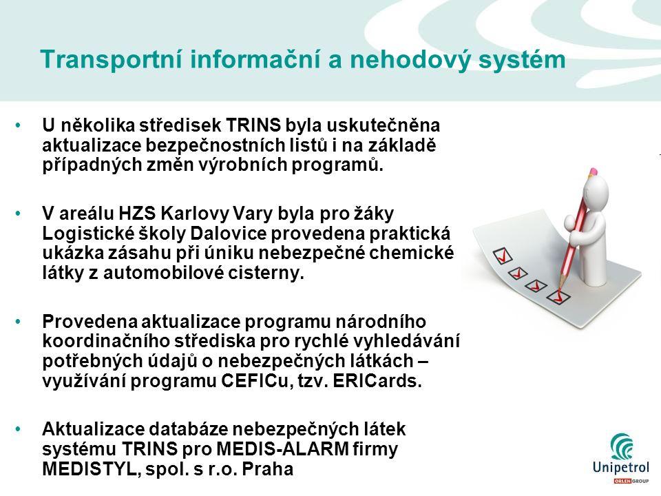 Transportní informační a nehodový systém U několika středisek TRINS byla uskutečněna aktualizace bezpečnostních listů i na základě případných změn výrobních programů.