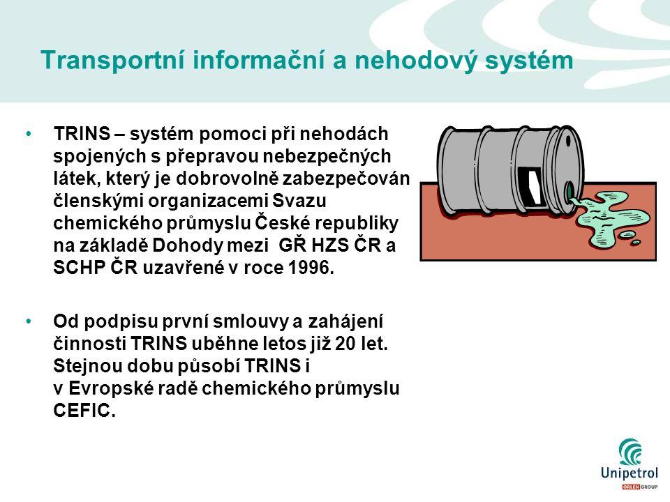 Transportní informační a nehodový systém TRINS – systém pomoci při nehodách spojených s přepravou nebezpečných látek, který je dobrovolně zabezpečován členskými organizacemi Svazu chemického průmyslu České republiky na základě Dohody mezi GŘ HZS ČR a SCHP ČR uzavřené v roce 1996.