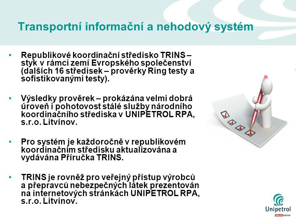 Transportní informační a nehodový systém Republikové koordinační středisko TRINS – styk v rámci zemí Evropského společenství (dalších 16 středisek – prověrky Ring testy a sofistikovanými testy).