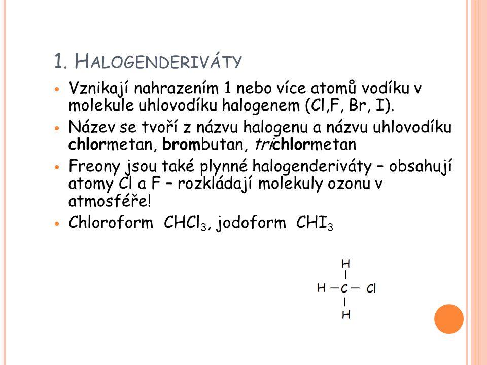 1. H ALOGENDERIVÁTY Vznikají nahrazením 1 nebo více atomů vodíku v molekule uhlovodíku halogenem (Cl,F, Br, I). Název se tvoří z názvu halogenu a názv