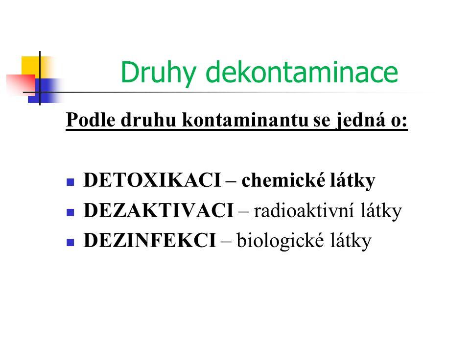 Druhy dekontaminace Podle druhu kontaminantu se jedná o: DETOXIKACI – chemické látky DEZAKTIVACI – radioaktivní látky DEZINFEKCI – biologické látky