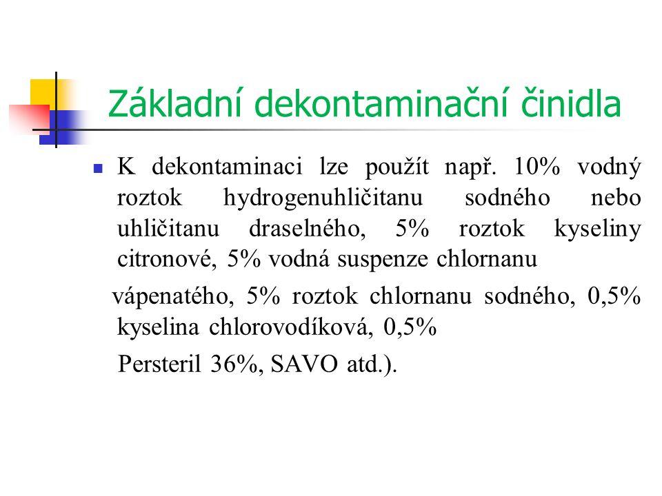 Základní dekontaminační činidla K dekontaminaci lze použít např. 10% vodný roztok hydrogenuhličitanu sodného nebo uhličitanu draselného, 5% roztok kys