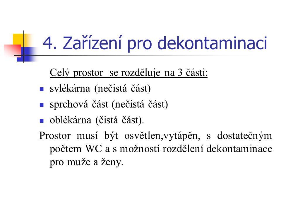 4. Zařízení pro dekontaminaci Celý prostor se rozděluje na 3 části: svlékárna (nečistá část) sprchová část (nečistá část) oblékárna (čistá část). Pros