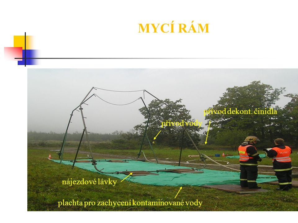 MYCÍ RÁM plachta pro zachycení kontaminované vody nájezdové lávky přívod vody přívod dekont. činidla