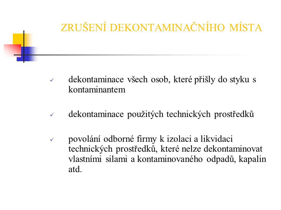 ZRUŠENÍ DEKONTAMINAČNÍHO MÍSTA dekontaminace všech osob, které přišly do styku s kontaminantem dekontaminace použitých technických prostředků povolání