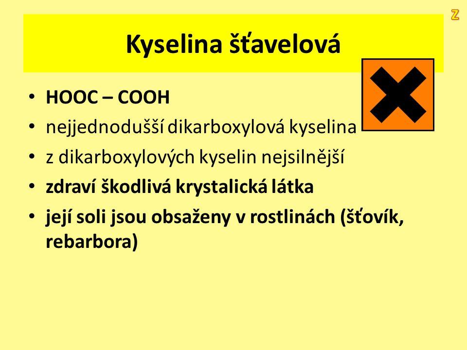 Kyselina šťavelová HOOC – COOH nejjednodušší dikarboxylová kyselina z dikarboxylových kyselin nejsilnější zdraví škodlivá krystalická látka její soli