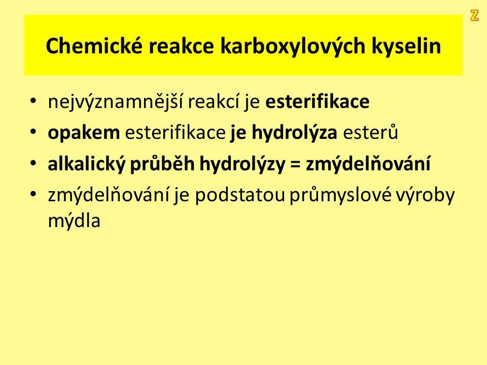 Chemické reakce karboxylových kyselin nejvýznamnější reakcí je esterifikace opakem esterifikace je hydrolýza esterů alkalický průběh hydrolýzy = zmýde