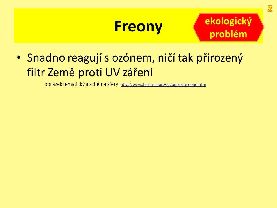 Freony Snadno reagují s ozónem, ničí tak přirozený filtr Země proti UV záření obrázek tematický a schéma sféry: http://www.hermes-press.com/ozoneone.h
