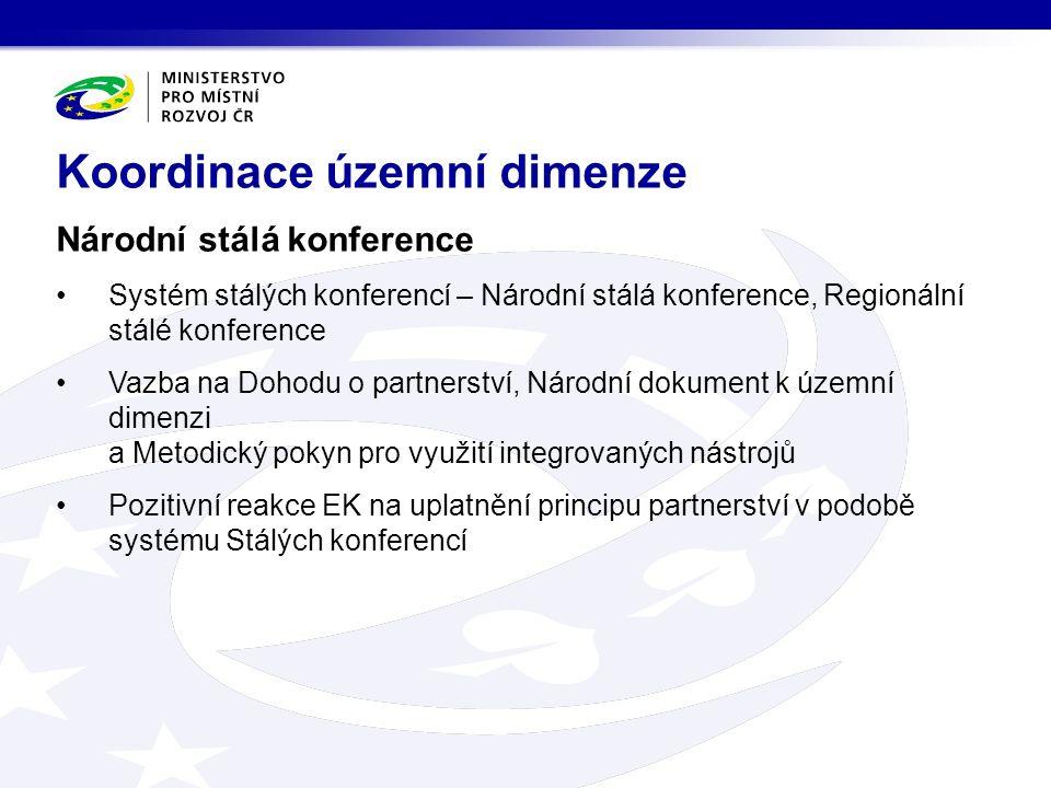 Národní stálá konference Systém stálých konferencí – Národní stálá konference, Regionální stálé konference Vazba na Dohodu o partnerství, Národní dokument k územní dimenzi a Metodický pokyn pro využití integrovaných nástrojů Pozitivní reakce EK na uplatnění principu partnerství v podobě systému Stálých konferencí Koordinace územní dimenze