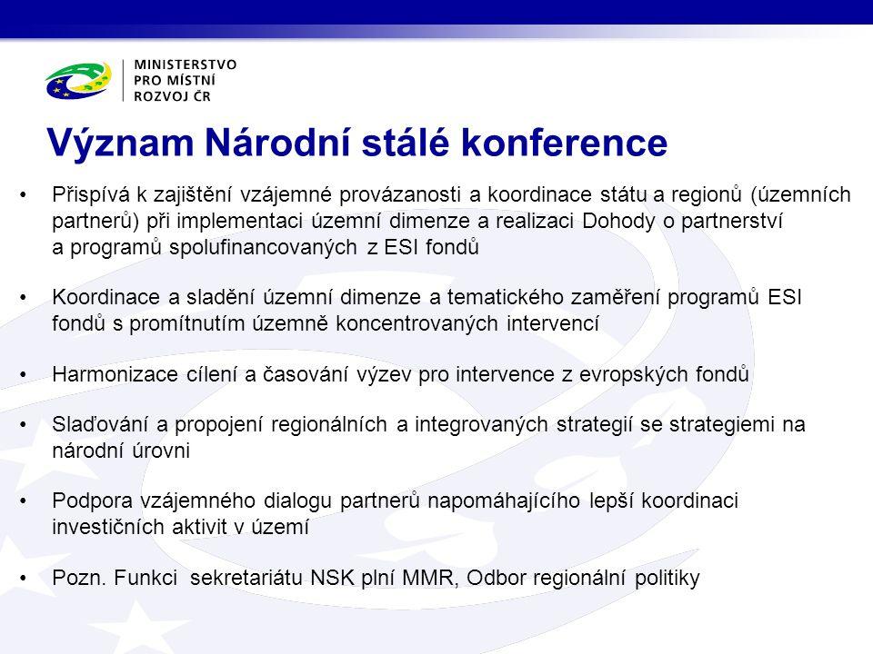 Přispívá k zajištění vzájemné provázanosti a koordinace státu a regionů (územních partnerů) při implementaci územní dimenze a realizaci Dohody o partnerství a programů spolufinancovaných z ESI fondů Koordinace a sladění územní dimenze a tematického zaměření programů ESI fondů s promítnutím územně koncentrovaných intervencí Harmonizace cílení a časování výzev pro intervence z evropských fondů Slaďování a propojení regionálních a integrovaných strategií se strategiemi na národní úrovni Podpora vzájemného dialogu partnerů napomáhajícího lepší koordinaci investičních aktivit v území Pozn.