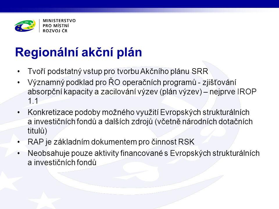 Regionální akční plán Tvoří podstatný vstup pro tvorbu Akčního plánu SRR Významný podklad pro ŘO operačních programů - zjišťování absorpční kapacity a zacilování výzev (plán výzev) – nejprve IROP 1.1 Konkretizace podoby možného využití Evropských strukturálních a investičních fondů a dalších zdrojů (včetně národních dotačních titulů) RAP je základním dokumentem pro činnost RSK Neobsahuje pouze aktivity financované s Evropských strukturálních a investičních fondů