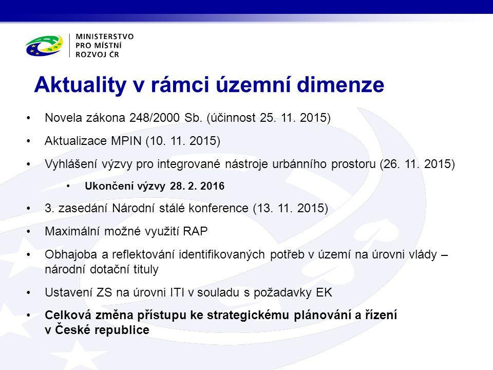 Novela zákona 248/2000 Sb. (účinnost 25. 11. 2015) Aktualizace MPIN (10.