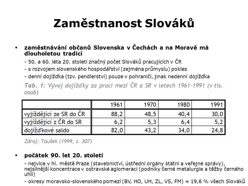 Zaměstnanost Slováků  zaměstnávání občanů Slovenska v Čechách a na Moravě má dlouholetou tradici - 50. a 60. léta 20. století značný počet Slováků pr